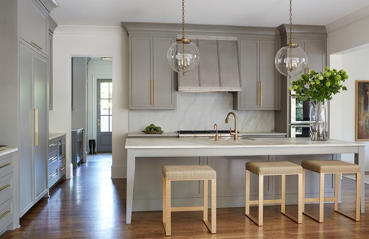 Marvelous Gray Kitchen Island With Gold Counter Stools