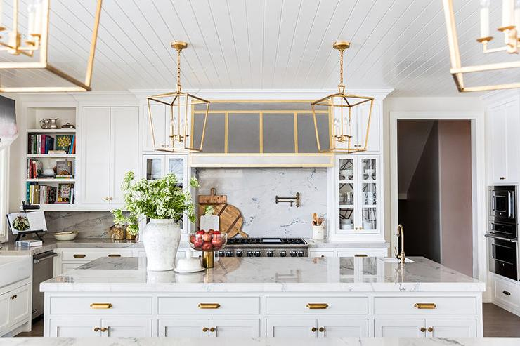 White Beadboard Kitchen Ceiling With Antique Brass Darlana Medium - One pendant light over island