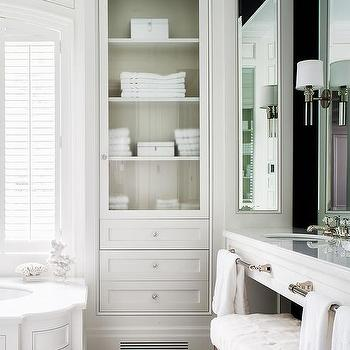 Genial Wainscoted Tub With Glass Door Inset Linen Cabinet