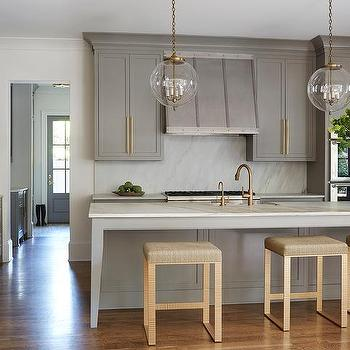 gray kitchen island with gold counter stools - Gold Kitchen Faucet