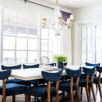 Dining room with white and purple curtains transitional dining