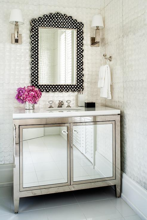 Metal Bath Vanity With Mirrored Cabinet Doors Contemporary Bathroom