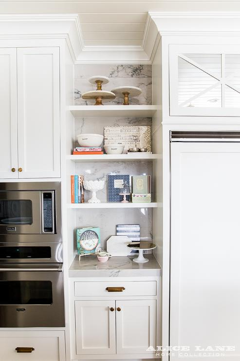 White Shaker Kitchen Cabinets with Brushed Brass Knobs and Vintage ...