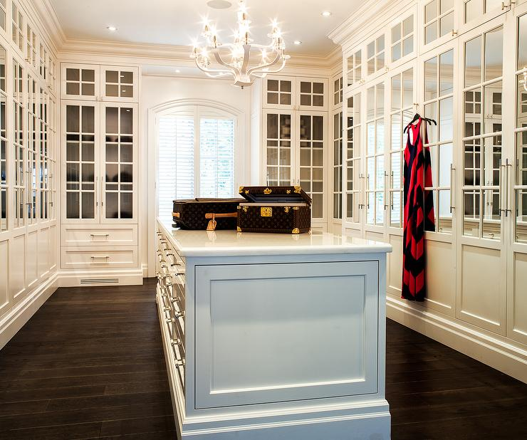 Walk In Closet With Mirrored Cabinet Doors Transitional
