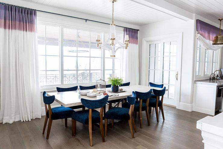 Blue Dining Room with White and Purple Curtains  Transitional