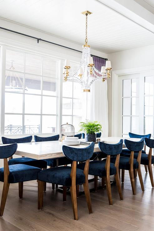 Exceptional White Wood Dining Table With Blue Velvet Dining Chairs