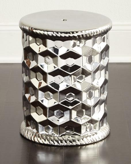 Silver Ceramic Honeycomb Garden Stool