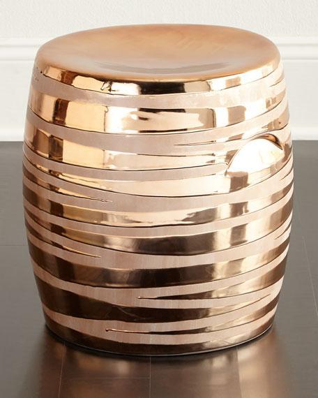 ceramic copper metallic lines garden stool