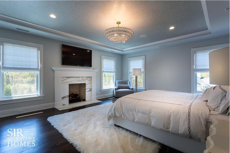 Gray Wallpaper On Bedroom Ceiling Transitional Bedroom