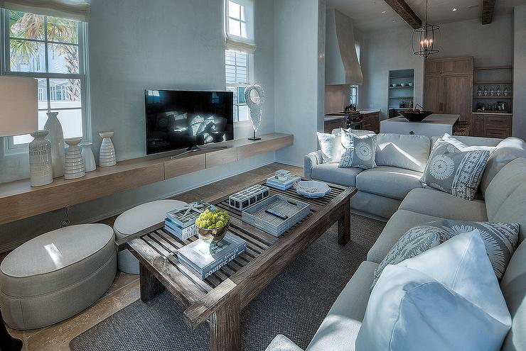Light Gray Linen Plush Sectional Facing a Floating TV Stand : rug under sectional - Sectionals, Sofas & Couches