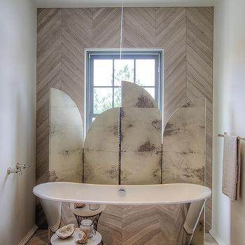 tub nook with herringbone tiled accent wall - Accent Wall Design Ideas