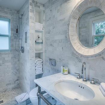 Circular Whitewashed Bathroom Mirror Design Ideas - Beach house bathroom mirrors