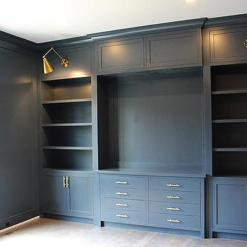 Gray Office Built In Shelves Design Ideas