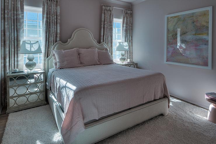 Pink Girls Bedroom with Limed Oak Mirrored Nightstands ...