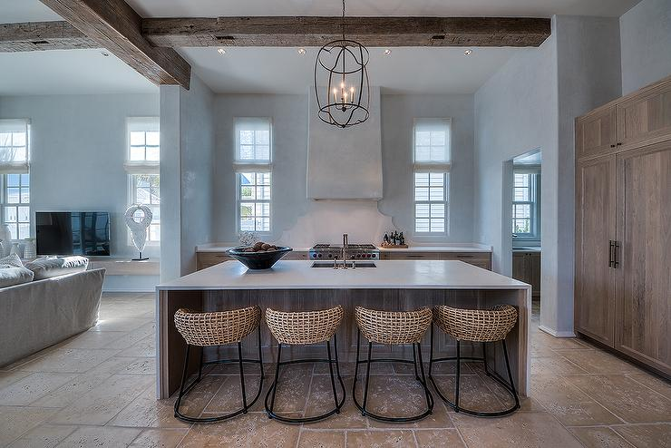 Waterfall Island With Curved Wicker Counter Stools