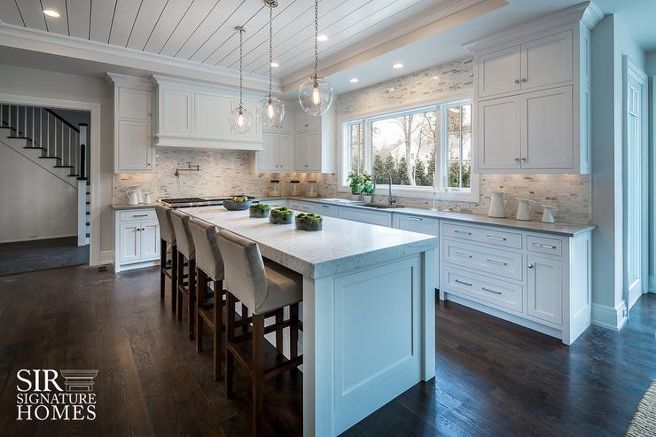 Superb White KItchen Island With Thick Marble Countertop And Gray Velvet Counter  Stools