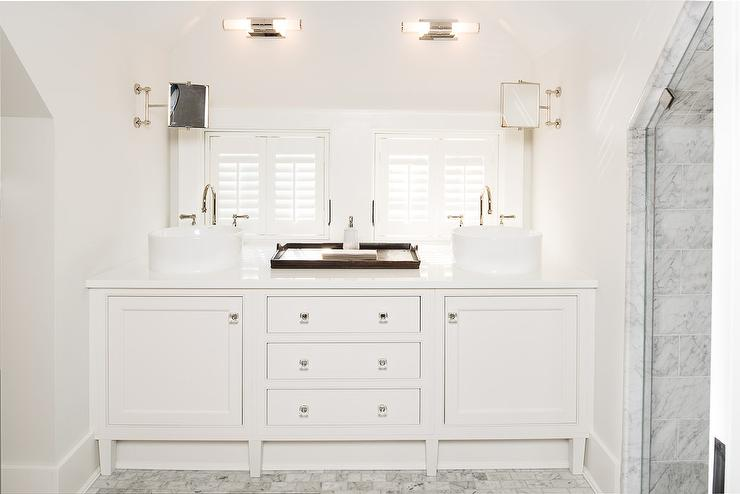 Attic Bathroom Nook With Dual Washstand And Round Bowl Sinks