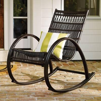 black outdoor rocking chairs Black Woven Wicker Outdoor Rocker black outdoor rocking chairs