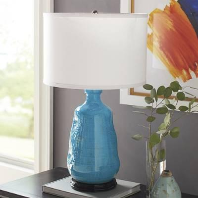 Glossy Blue Ceramic Table Lamp
