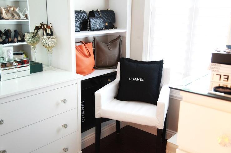 Walk In Closet Built In Display Shelves With Designer Bags