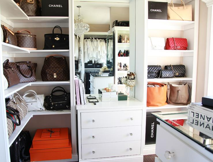 Designer Closet With Wraparound Bag Display Shelves View Full Size