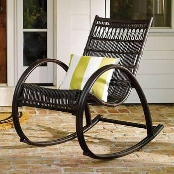 Black Woven Wicker Outdoor Rocker
