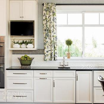 Transitional Kitchen With White Herringbone Backsplash Tiles