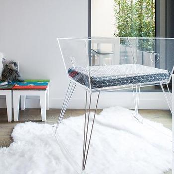 Modern Clear Acrylic Small Crib On Hairpin Legs