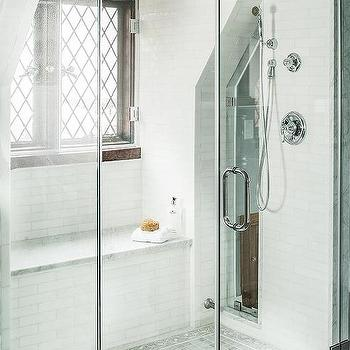 Walk In Shower With Sloped Ceiling And Window Seat Bench