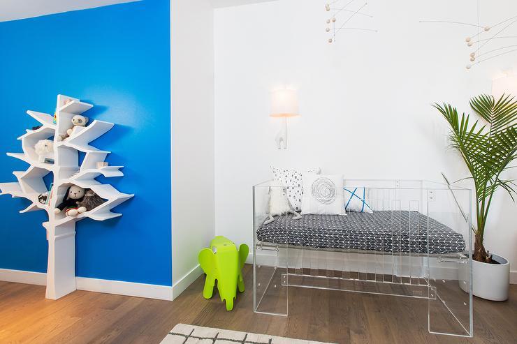 Modern Nursery Part - 44: White And Blue Modern Nursery With Nurseryworks Tree Bookcase