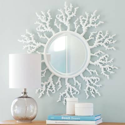 White Coral Framed Round Mirror