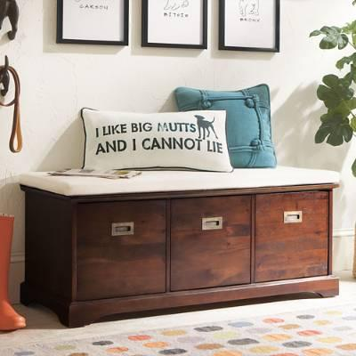 Astounding Brown Three Bin Storage Bench Lamtechconsult Wood Chair Design Ideas Lamtechconsultcom