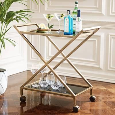 Galway mobile bar cart in brown for Mobili bar cart