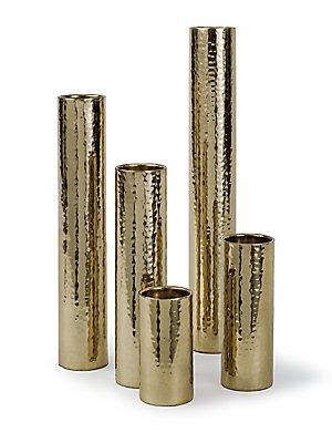 Cylinder Gold Hammered Bud Vases