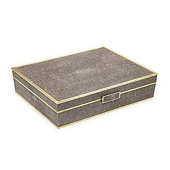 Ginger Brown Shagreen Oval Jewel Box