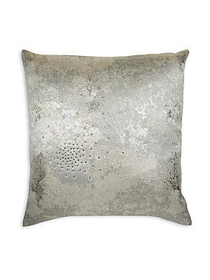 silver metallic abstract distressed pillow