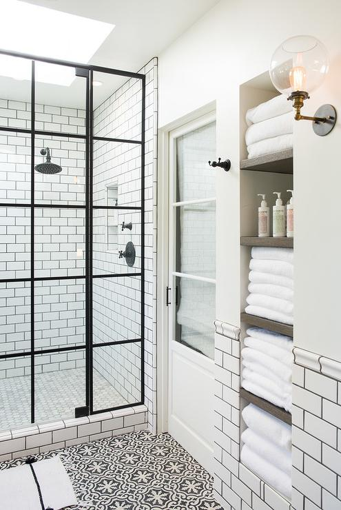 White and Black Bathroom with Alcove Shelves - Transitional - Bathroom
