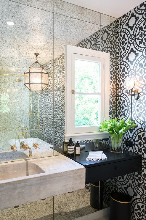 Mirrored Bathroom Vanity French Bathroom Traditional Home