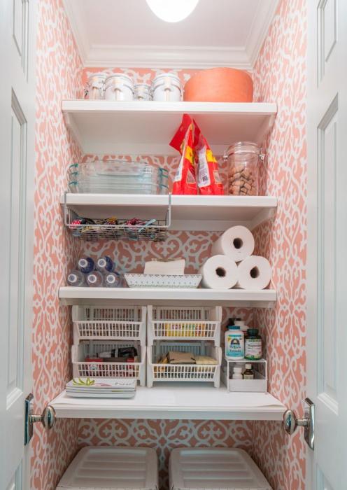 Charming Pink Closet Craft Room With Bi Fold Doors