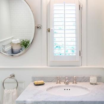 Marble Washstand With Side Framed Inset Medicine Cabinet