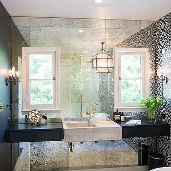 Concrete Sink On Antiqued Mirrored Wall Contemporary