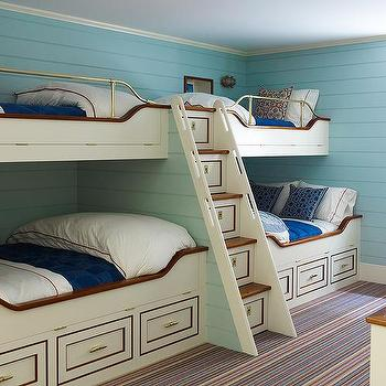 cream nautical built in bunk beds with built in storage staircase - Bunk Bed With Stairs