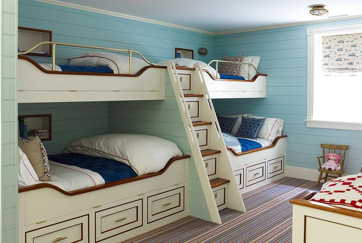 Cream Nautical Built In Bunk Beds with Built In Storage Staircase