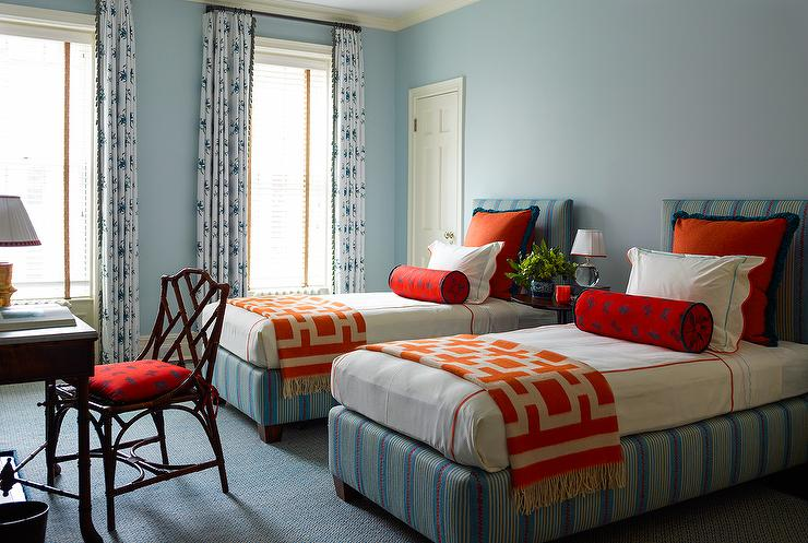 Orange and blue kids bedroom with butterfly bolster for Blue and white boys room