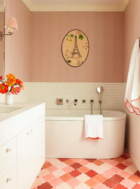 White And Pink Girls Bathroom With Pink Moroccan Tile Floor Part 16