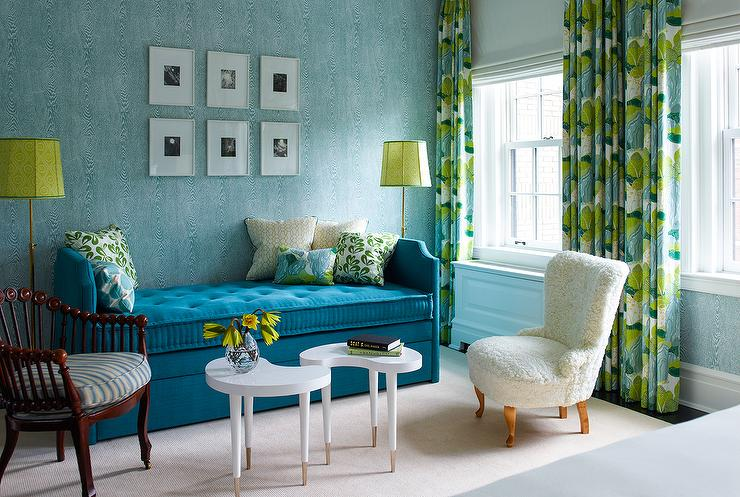 blue and citron green living room with blue velvet tufted daybed