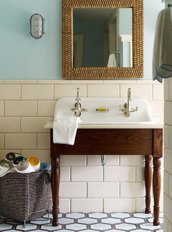 Blue Cottage Bathroom With Woven Mirror And Blue Hex Tile Floor