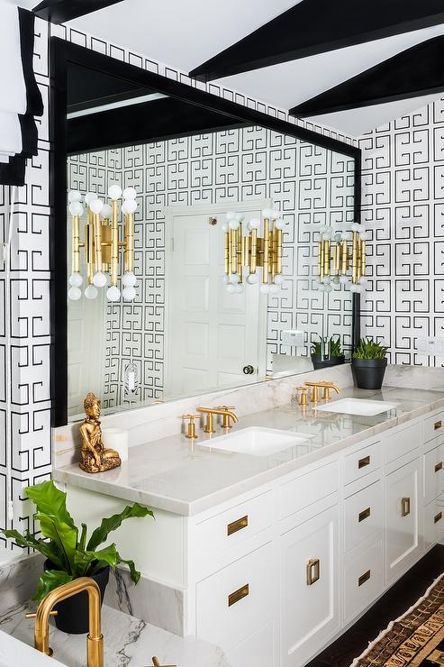 Blue Bathroom With Greek Key Mirror Transitional Bathroom