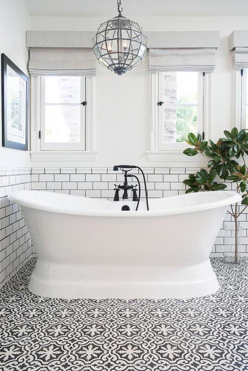White and Black Bathroom with Bordeaux Cement Tiles - Transitional ...