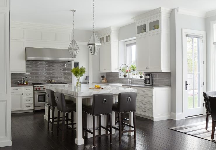 White Kitchen with Glossy Gray Linear Backsplash Tiles